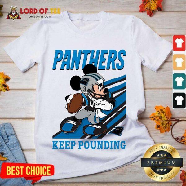 Top Mickey Mouse Carolina Panthers Keep Pounding V-Neck