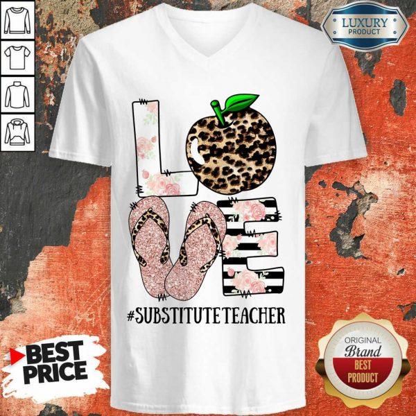 Apple Leopard Love Substitute Teacher V-neck