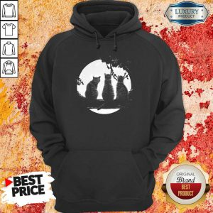 Excellent Three Cats Under The Moon Hoodie