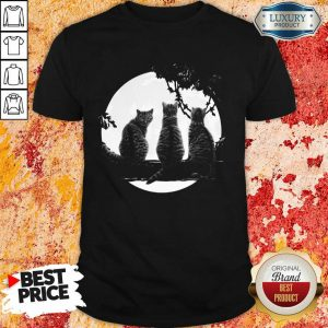 Excellent Three Cats Under The Moon Shirt