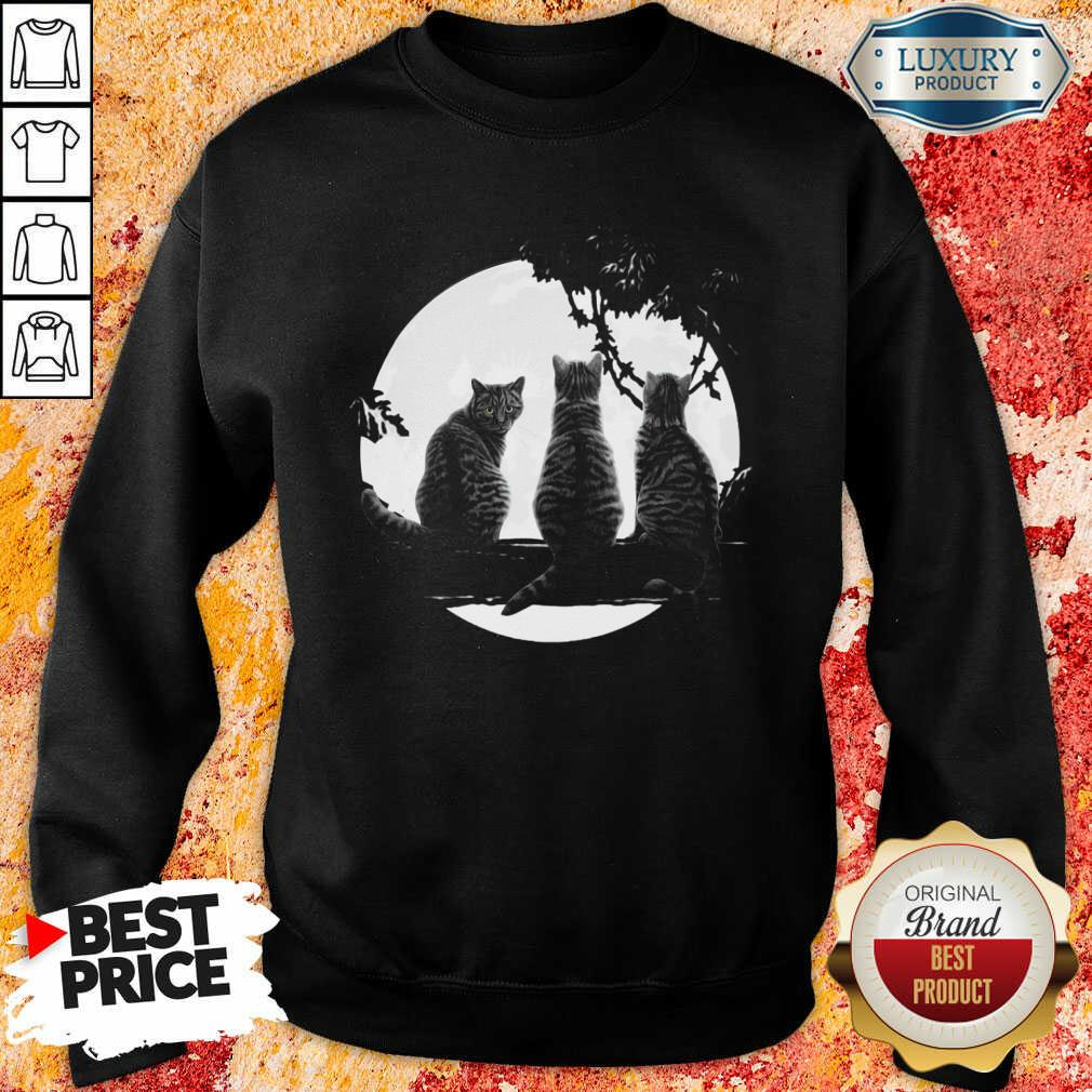 Excellent Three Cats Under The Moon Sweashirt
