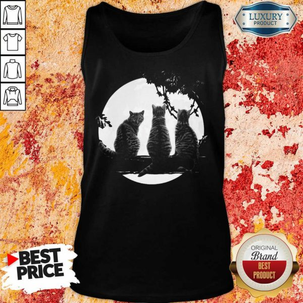 Excellent Three Cats Under The Moon Tank Top