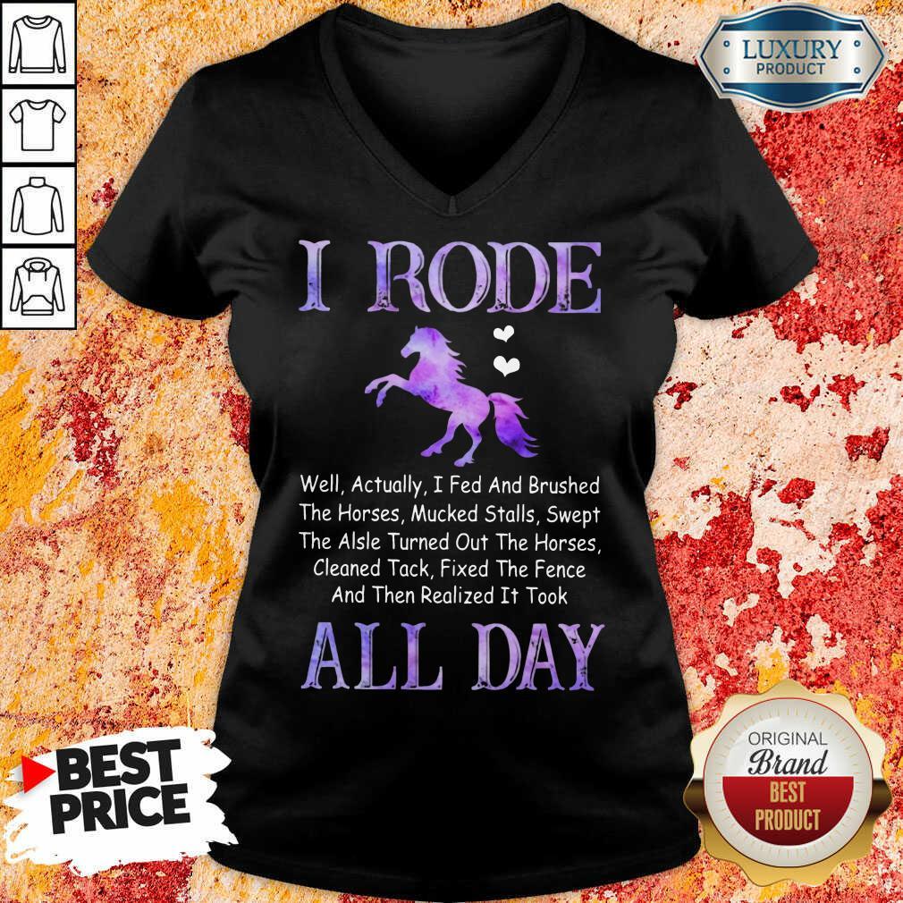 Funny Horse I Rode All Day V-neck