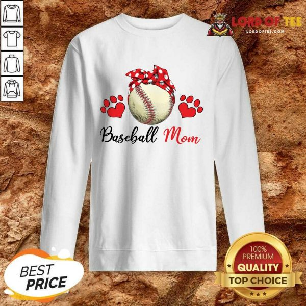 Top Polka Dot Red Baseball Love Mother For Baseball Lover Sweatshirt