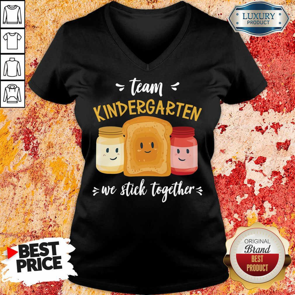 We Stick Together Sandwich Team Kindergarten V-neck